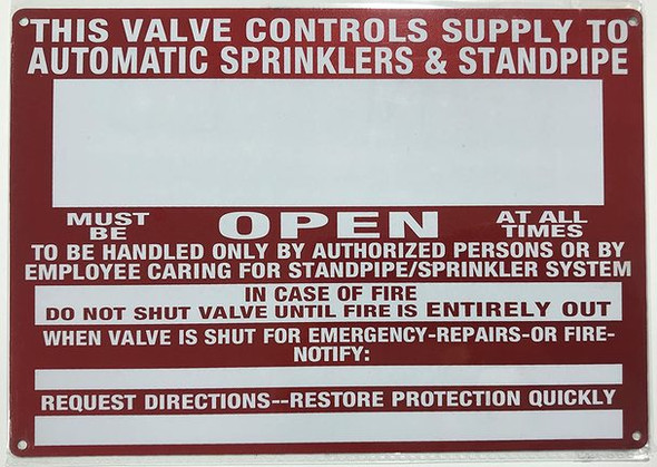 This Valve Control Supply to Automatic Sprinkler and Standpipe Sign