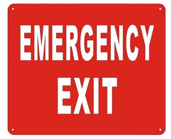 EMERGENCY EXIT  - ( Reflective !!! ALUMINUM , 10X12)