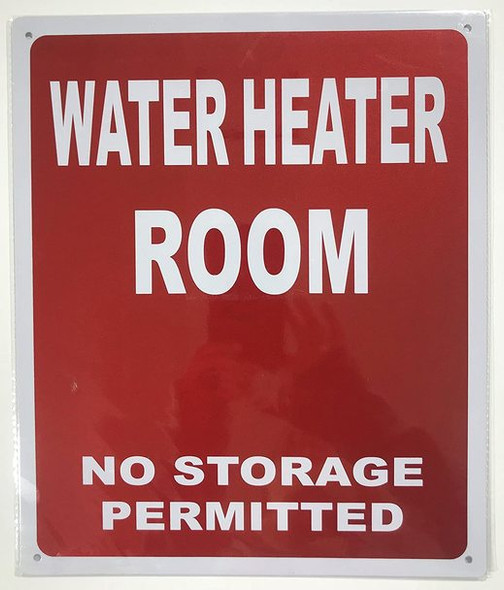 WATER HEATER ROOM no storage permitted sign