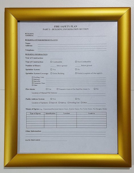 FIRE SAFETY PLAN FRAME - GOLD (STANDARD - ALUMINUM 8.5x11)