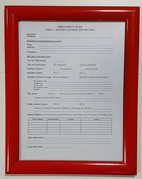 FIRE SAFETY PLAN FRAME - RED (STANDARD - ALUMINUM 8.5x11 )
