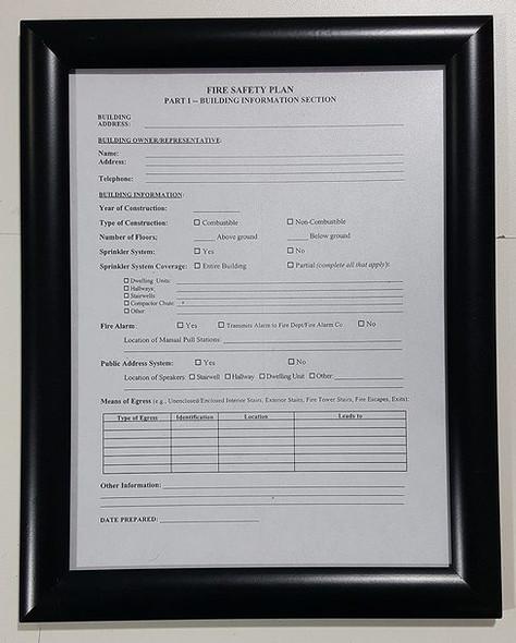 HPD FIRE SAFETY PLAN FRAME - BLACK (STANDARD - ALUMINUM 8.5 x 11 )