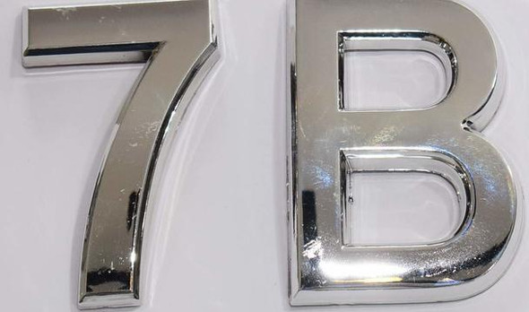 Apartment Number 7B Sign/Mailbox Number Sign, Door Number Sign. (Silver,3D, Size 2.75 x 1.75, Comes with Double Sided Tape)- The Maple line