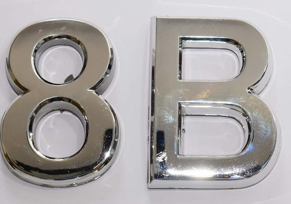 Apartment Number 8B Sign/Mailbox Number Sign, Door Number Sign. (Silver,3D, Size 2.75 x 1.75, Comes with Double Sided Tape)- The Maple line