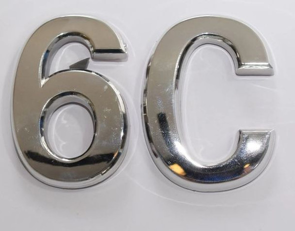 Apartment Number 6C Sign/Mailbox Number Sign, Door Number Sign. (Silver,3D, Size 2.75 x 1.75, Comes with Double Sided Tape)- The Maple line