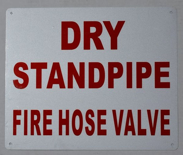 Dry Standpipe FIRE Hose Valve Sign (White, Reflective, Aluminium 10x12)