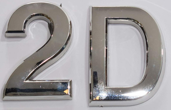 Apartment Number 2D Sign/Mailbox Number Sign, Door Number Sign. (Silver,3D, Size 2.75 x 1.75, Comes with Double Sided Tape)- The Maple line