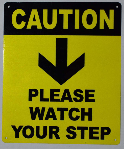 Watch Your Step Arrow Down  (Yellow, Aluminium 10x12)