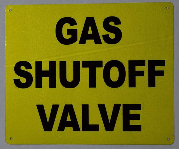 Gas SHUT OFF Valve Sign yellow