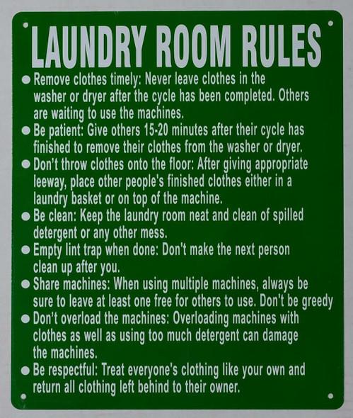 Laundry Room Rules Sign (Green, Rust Free Aluminium )