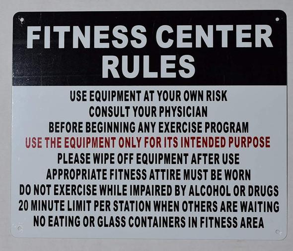 Fitness Center Rules Sign-Horizontal (White,Aluminium )
