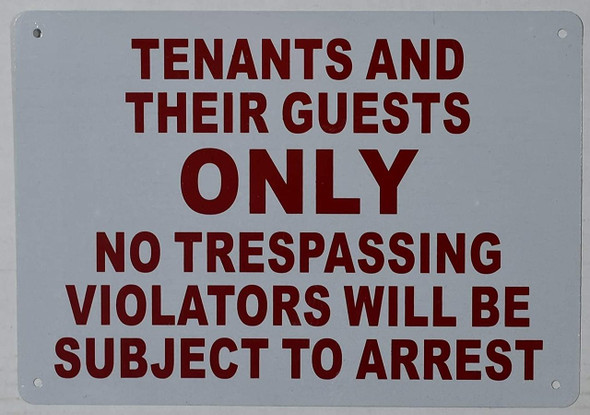 "10"" X 12""""Tenants And Their Guests"" Metal Sign"