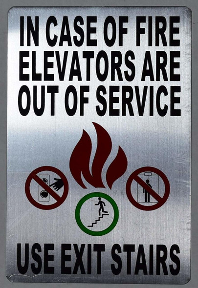 in Case of Fire - Elevators are Out of Service, Use Exit