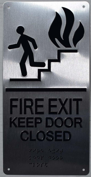 FIRE EXIT KEEP DOOR CLOSED SIGN  ada silver