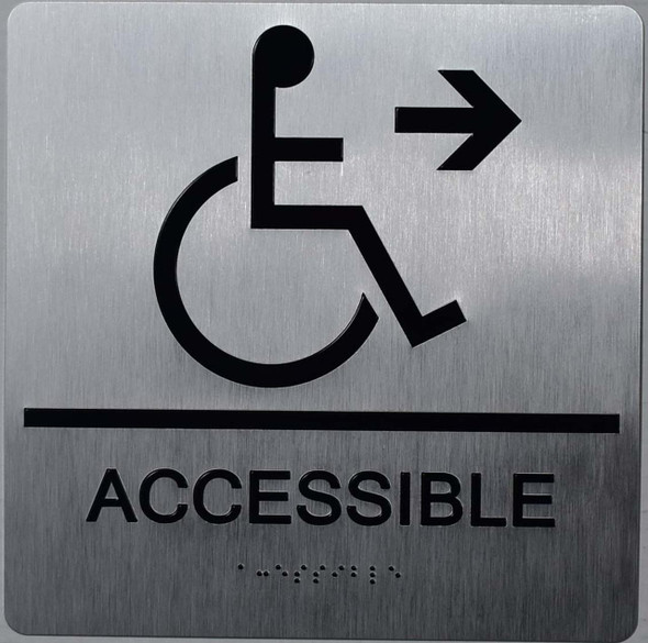 ACCESSIBLE RIGHT BRAILLE SIGN ADA SILVER