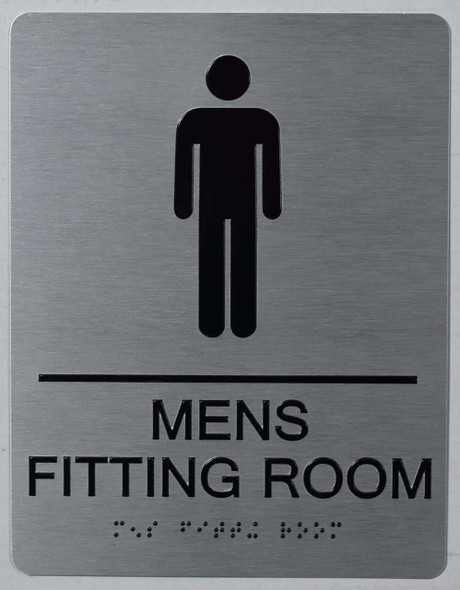 MEN'S FITTING ROOM SIGN  SILVER