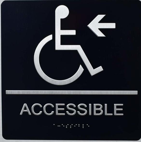 ADA ACCESSIBLE Left Sign BLACK