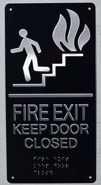 FIRE EXIT Keep Door Closed Sign -Tactile Signs Tactile Signs -The Sensation line Ada sign