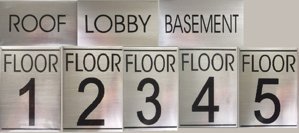 FLOOR NUMBER FOUR set SIGN - BRUSHED ALUMINUM