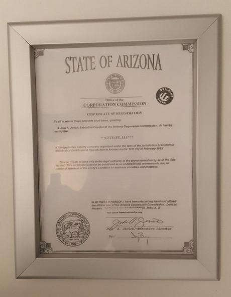 Certificate Frame state of Arizona