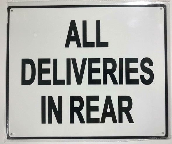 ALL DELIVERIES IN REAR SIGN-WITHOUT IMAGE