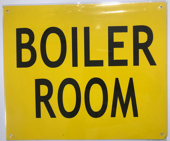Boiler Room Sign - Yellow (Aluminium ! Signs, RED )