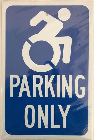 "Handicap""Parking ONLY"" Sign Blue"