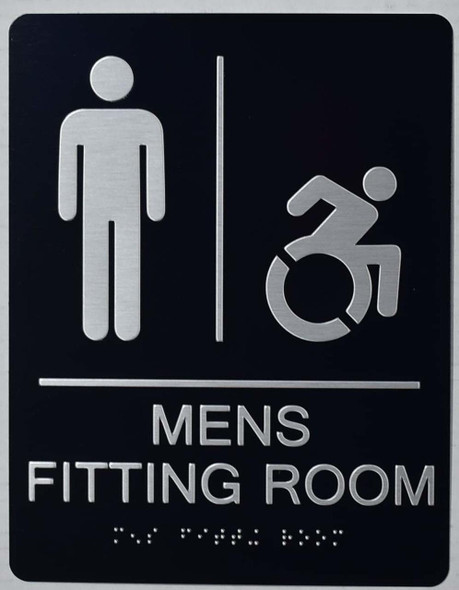 ada MEN'S ACCESSIBLE FITTING ROOM sign