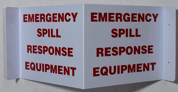 EMERGENCY SPILL RESPONSE EQUIPMENT 2D projection signs / 2d hallway sign is printed on both sides for easy viewing.