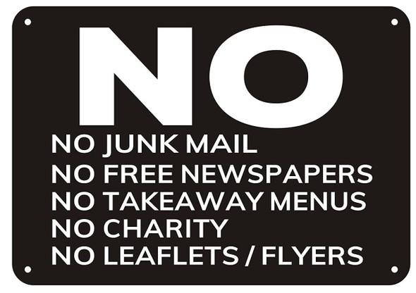No LEAFLETS sign
