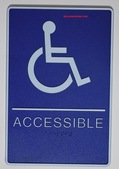 Blue ADA Wheelchair Accessible Restroom Sign-Tactile Signs  with Tactile Graphic - The Deep Blue ADA line