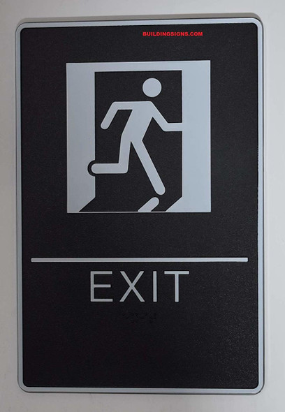 ADA EXIT Sign with Tactile Graphic