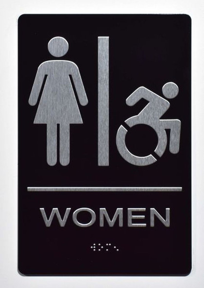 ADA Women Accessible Restroom Sign with Braille and Double Sided Tap -Tactile Signs  The Standard ADA line Ada sign