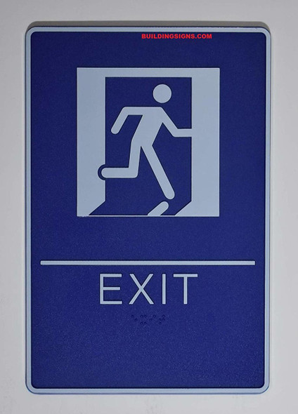 ADA EXIT  with Tactile Graphic (exit,6x9 Comes with Double Sided Tape)-Tactile s  The deep Blue ADA line