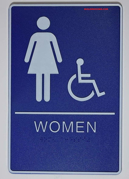 ADA Women Accessible Restroom Sign with Braille and Double Sided Tap -Tactile Signs  The deep Blue ADA line Ada sign