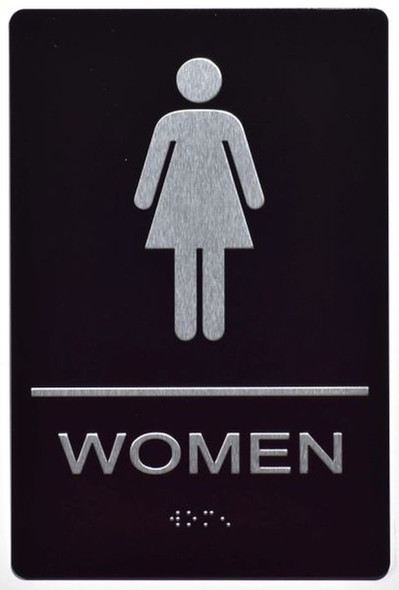 ADA Women Accessible Restroom Sign with Braille and Double Sided Tap -Tactile Signs  The Leather Sheffield ADA line Ada sign