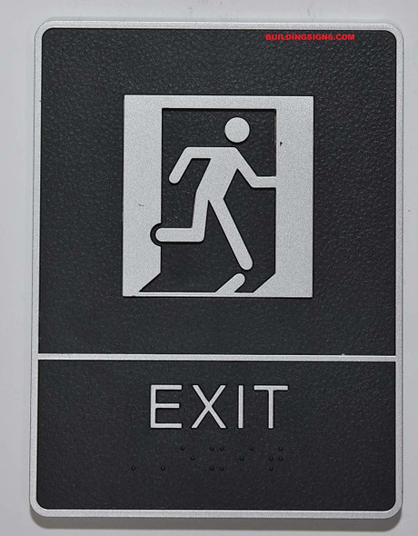 ADA EXIT Sign with Tactile Graphic -Tactile Signs  The Leather Sheffield ADA line Ada sign