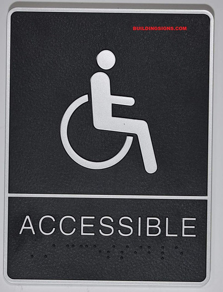 ADA Wheelchair Accessible  Sign with Tactile Graphic -Tactile Signs  The Leather Sheffield ADA line Ada sign