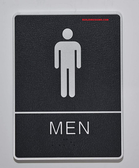 ADA Men Restroom  with Braille and Double Sided Tap -Tactile s  The Leather Sheffield ADA line