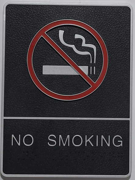 ADA NO Smoking Sign with Braille and Double Sided Tap