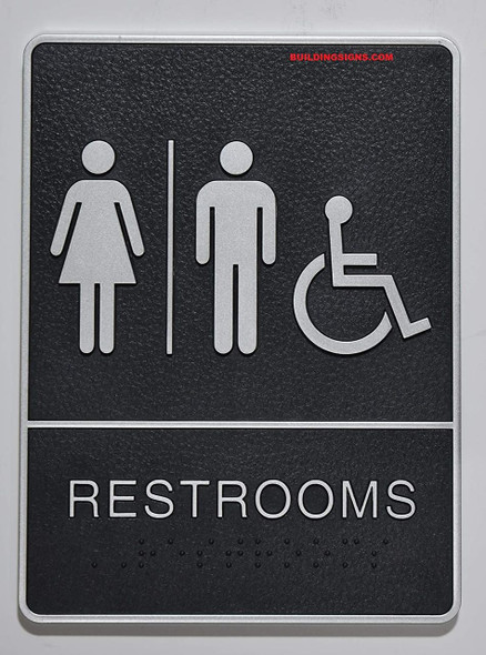 ADA Wheelchair Accessible Restroom Sign with Tactile Graphic -Tactile Signs  The Leather Sheffield line Ada sign