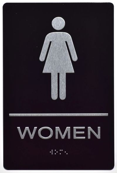 ADA Women Restroom Sign with Braille and Double Sided Tap