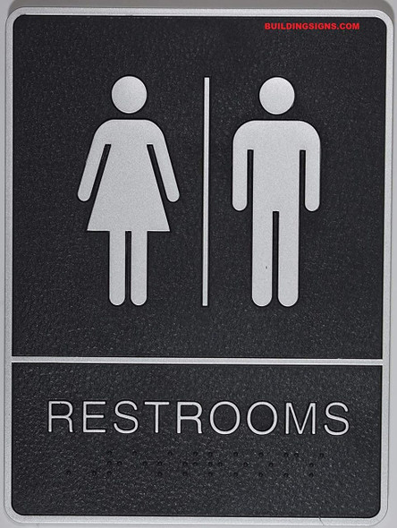 ADA Restroom Sign with Tactile Graphic