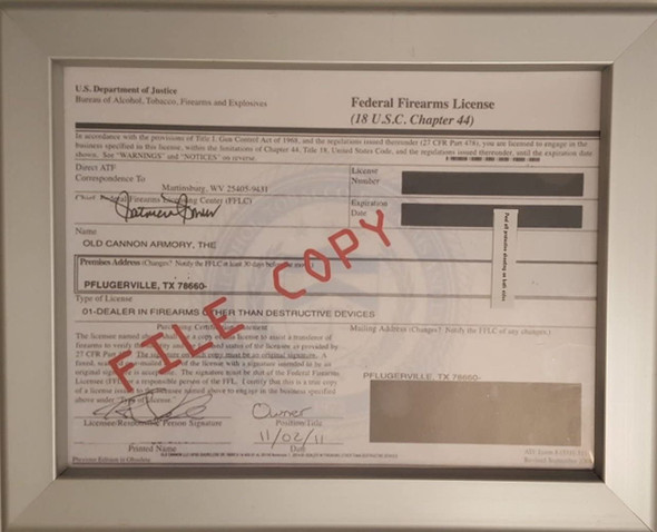 Fire Arm License Frame Heavy Duty