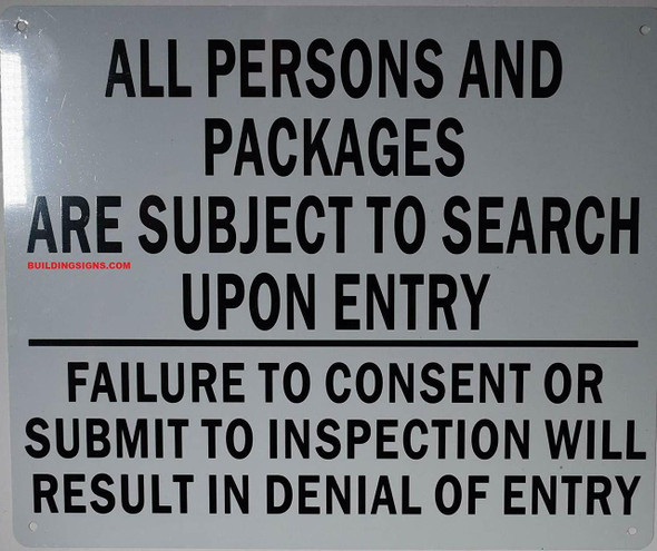 All Person Packages are Subject to Search Sign