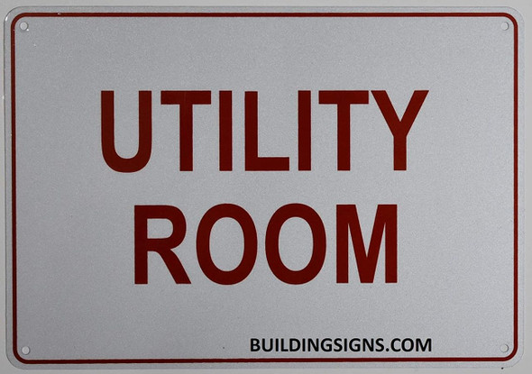 Utility Room Sign- Reflective !!! (White,Aluminum )