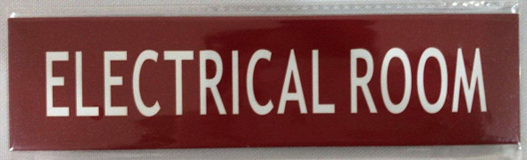 Electrical Room Door/Wall Sign - (Red,Double Sided Tape, Aluminium )