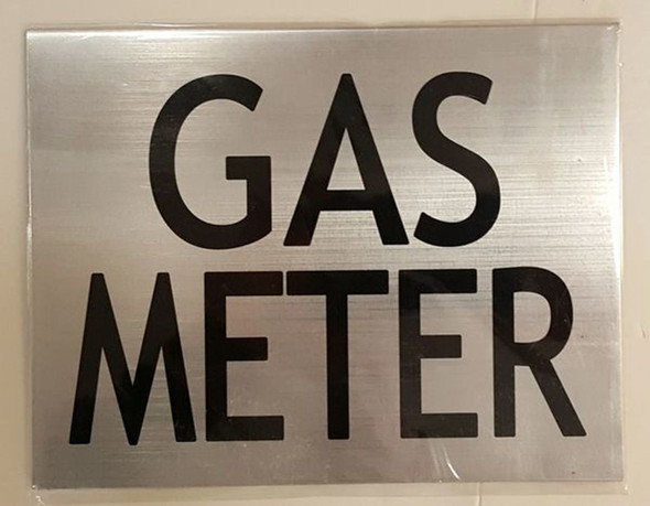 GAS METER SIGN - BRUSH ALUMINIUM