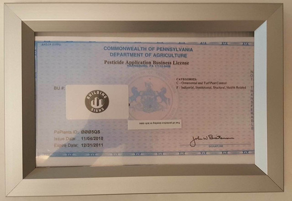 Business License Frame PA