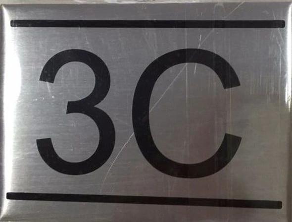APARTMENT NUMBER SIGN -3C -BRUSHED ALUMINUM